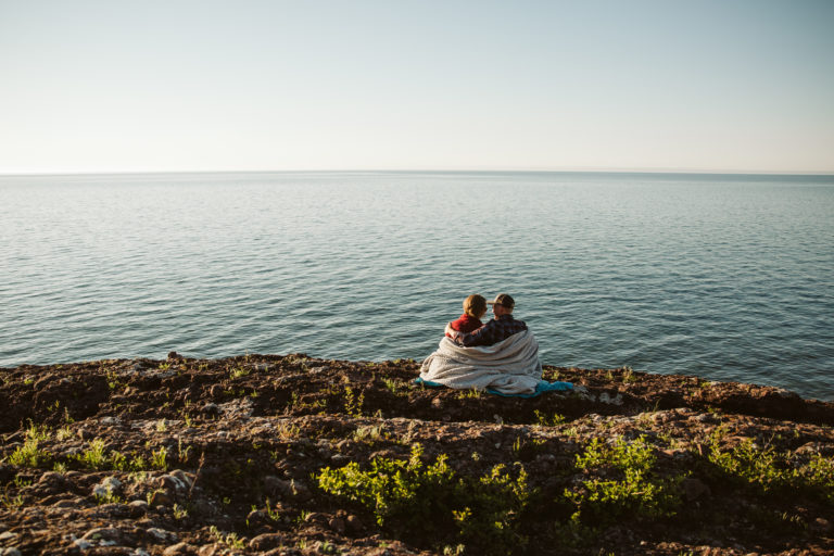 Lynn and Jason Makela on the coast of Lake Superior